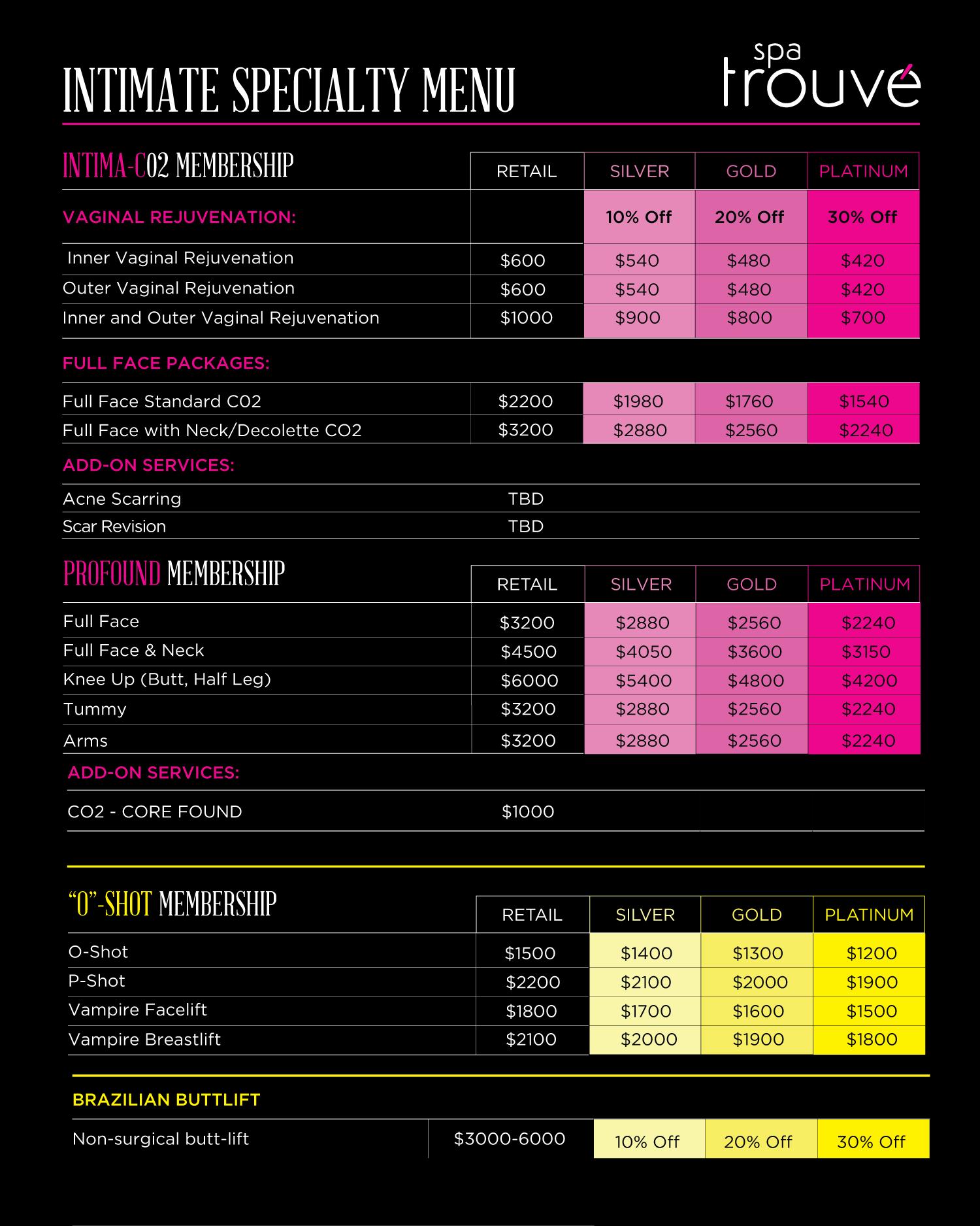 prices and o-shot menu